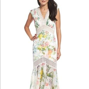 Floral Chiffon Trumpet Gown